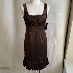 Brown Sleeveless Stretch Satin Wiggle Party Dress